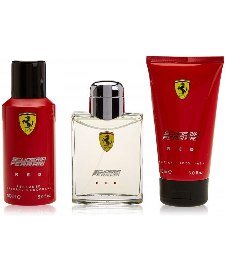 Set Scuderia FERRARI Red Aftershave 150ml Deodorant 150ml & Body Wash 150ml